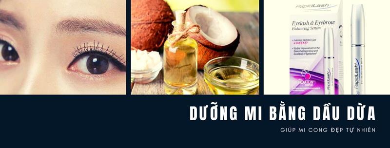 Dưỡng mi bằng dầu dừa
